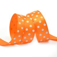Прочие Лента репсовая в рубчик арт.LDRG66802925 (119) крупный горох 25мм  цв.оранжевый-белый уп.27,4м Лента репсовая в рубчик арт.LDRG66802925 (119) крупный горох 25мм  цв.оранжевый-белый уп.27,4м