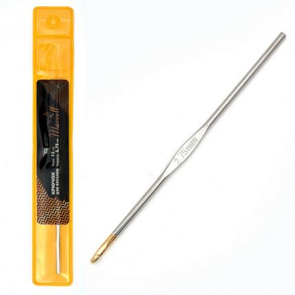 Крючок для вязания Maxwell Gold односторонний с золотой головкой никель 2,75мм, 12см (арт. МГ-50414-1-МГ0615566)