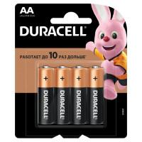 DURACELL MN 1500 АА LR6 Батарейки КОМПЛЕКТ 4 шт., DURACELL Basic, AA (LR06, 15А), алкалиновые, пальчиковые, блистер, MN 1500 АА LR6