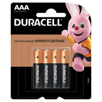 DURACELL MN 2400 AAA LR3 Батарейки КОМПЛЕКТ 4 шт., DURACELL Basic, AAA (LR03, 24А), алкалиновые, мизинчиковые, блистер, MN 2400 AAA LR3