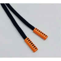 Прочие N0004116 Шнурок 130см черный D580 / оранж D006 , 2135001338901