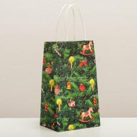 Прочие N0007528 4903780 Пакет подарочный крафтовый «Новогодняя ёлочка», 12 × 21 × 9 см