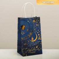 Прочие N0007529 4903785 Пакет подарочный крафтовый «Новогодняя ночь», 12 × 21 × 9 см