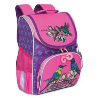 """GRIZZLY RAm-084-3/2 Ранец GRIZZLY школьный, с сумкой для обуви, анатомическая спинка, """"Птички"""", 33x25x13см,, RAm-084-3/2"""