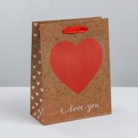 Прочие С0001402 3681073 Пакет крафтовый вертикальный i love you, S 12 × 15 × 5.5 см