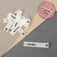 Прочие СМЛ-39118-1-СМЛ0005096680 Нашивка с кнопкой «Hand made», 8 × 1,5 см, 1 шт  белый