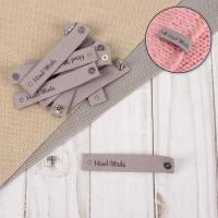 Прочие СМЛ-40587-2-СМЛ0005096677 Нашивка с кнопкой «Hand made», 8 × 1,5 см, 1 шт серый