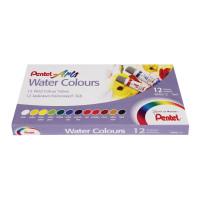 """PENTEL WFRS-12 Краски акварельные художественные PENTEL """"Water Colours"""", НАБОР 12 цветов, туба 5 мл, картонная упаковка, WFRS-12"""