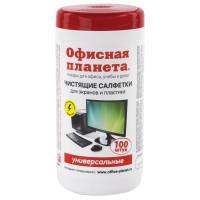 ОФИСНАЯ ПЛАНЕТА 510485 Салфетки для экранов всех типов и пластика универсальные ОФИСНАЯ ПЛАНЕТА, туба 100 шт., влажные, 510485