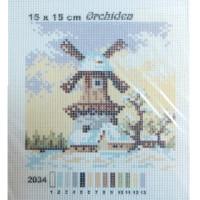 "Orchidea 2034 Рисунок на канве 15*15 см Orchidea ""Мельница"""