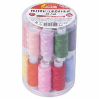 ОСТРОВ СОКРОВИЩ  Набор швейных ниток, 24 цвета по 150 м, в тубе, 40 ЛШ, ОСТРОВ СОКРОВИЩ, 662788