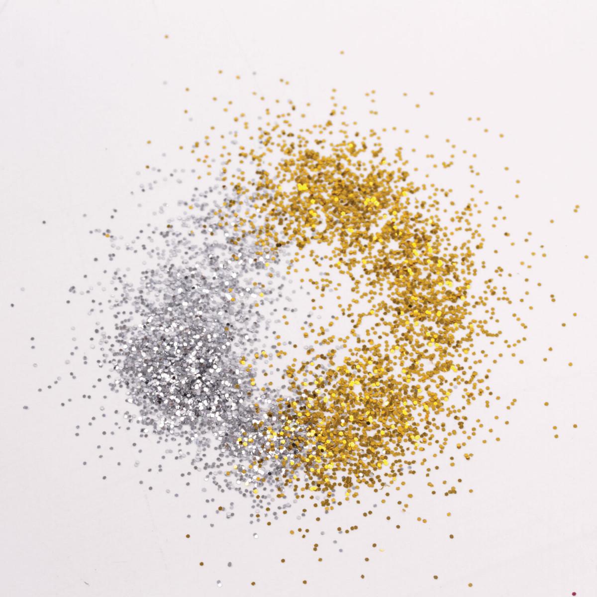 Блестки (глиттер) для декора, поделок, DIY, творчества, оформления, ОСТРОВ СОКРОВИЩ, НАБОР золото, серебро, 6 шт по 6,5 г, блистер, 662228 (арт. 662228)