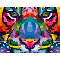 """ОСТРОВ СОКРОВИЩ 663322 Картина по номерам 40*50 см, ОСТРОВ СОКРОВИЩ """"Радужный тигр"""", на подрамнике, акрил, кисти, 663322"""
