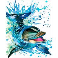 """ОСТРОВ СОКРОВИЩ 663360 Картина по номерам 40*50 см, ОСТРОВ СОКРОВИЩ """"Дельфин"""", на подрамнике, акрил, кисти, 663360"""