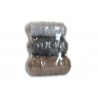 Osttex НШХ 3мм сск Набор шнуров хлопковых 3мм (светло серый+тёмно серый+серо коричневый)