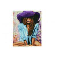 Paintboy EF1132 Алмазная мозаика 30х40 EF1132 Леди в фиолетовой шляпе