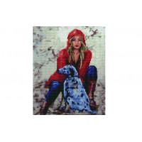 Paintboy EF1139 Алмазная мозаика 30х40 EF1139 Девушка с собакой