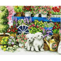 Paintboy GF1066 Алмазная мозаика 40х50 GF1066  Щенки в цветах