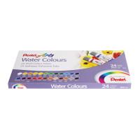 """PENTEL WFRS-24 Краски акварельные художественные PENTEL """"Water Colours"""", НАБОР 24 цвета, туба 5 мл, картонная упаковка, WFRS-24"""
