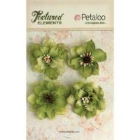 """Petaloo 1200-214 Набор цветов из ткани """"Petaloo"""" 1200-214  Burlap Blossoms х 4- Pistachi"""
