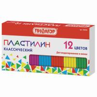 ПИФАГОР 103678 Пластилин классический ПИФАГОР, 12 цветов, 120 г, картонная упаковка, 103678