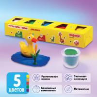 ПИФАГОР 104438 Пластилин на растительной основе (тесто для лепки) ПИФАГОР, 5 цветов, 450 г, картонный рукав, 104438