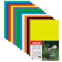 ПИФАГОР 128011 Картон цветной А4 немелованный (матовый), 12 листов 12 цветов, ПИФАГОР, 200х283 мм, 128011