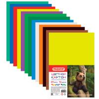 ПИФАГОР 128012 Картон цветной А4 немелованный (матовый), 24 листов 12 цветов, ПИФАГОР, 200х283 мм, 128012