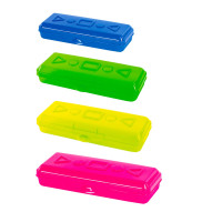 ПИФАГОР 228113 Пенал пластиковый ПИФАГОР тонированный, ассорти 4 цвета, 20х7х4 см, 228113