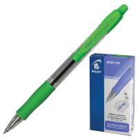 """PILOT BPGP-10R-F Ручка шариковая масляная автоматическая с грипом PILOT """"Super Grip"""", СИНЯЯ, салатовые детали, узел 0,7 мм, линия письма 0,32 мм, BPGP-10R-F"""