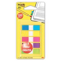 POST-IT (3M) 683-5CBP Закладки клейкие POST-IT, пластиковые, 12 мм, 3+5 цветов х 20 шт., 683-5CBP