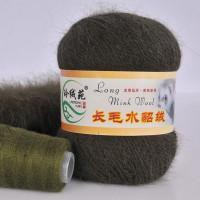 Mink wool 24 Норка длинноворсовая 24 темно зеленый