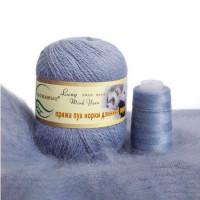 Mink wool 75 Норка длинноворсовая 75 темно голубой