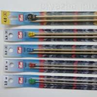 Prym 17130 Алюминиевые прямые спицы для вязания с наконечниками, серебр.цв. 40см