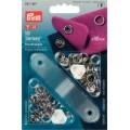 Prym 390107 непришивные кнопки Джерси (латунь) зубчатое кольцо, серебристый