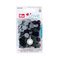 """Prym 393003 Кнопка """"PRYM"""" 393003 PL Color Snaps пластик d 12.4 мм 30 шт. серые/темн.серые/черные"""