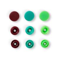 """Prym 393005 Кнопка """"PRYM"""" 393005 PL Color Snaps пластик d 12.4 мм 30 шт. св.зеленые/зеленые/коричневые"""