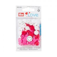 Prym 393031 Kнопки 'Сердце' , красный/белый/розовый