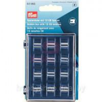 Prym 611985 Бокс с ячейками для хранения шпулек, 12 металлических шпулек СВ 3х7х9 см