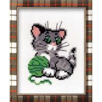 Риолис 00000001358 Набор для вышивания «Сотвори Сама» 375 Котенок с клубком 15х18 см