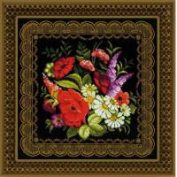 Риолис 1642 Жостовская роспись. Подушка или панно.