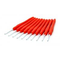 Рукоделие KAO(S)/3.0 Крючок KAO(S)/3.0 вязальный односторонний алюминиевый с силиконовой ручкой 3,0мм