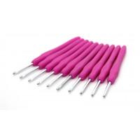 Рукоделие KAO(S)/3.5 Крючок KAO(S)/3.5 вязальный односторонний алюминиевый с силиконовой ручкой 3,5мм