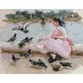Рукоделие RN4050/L-019 Девочка и голуби