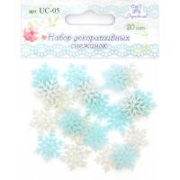 Рукоделие UC-05 Набор акриловых снежинок с блестками