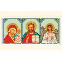 Русская сказка АЗ-003 Складень: Богоматерь Казанская, Иисус, Ангел-Хранитель