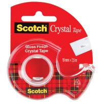 "SCOTCH (3M) 61975D-RUS Клейкая лента канцелярская 19 мм х 7,5 м, прозрачная, в диспенсере, 50 мкм, SCOTCH ""Crystal"", 61975D-RUS"