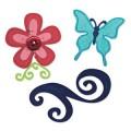 SIZZIX 657126 Форма для вырубки Бабочка, Цветок, Завиток 3 шт Sizzlits