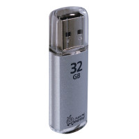 SMARTBUY SB32GBVC-S Флеш-диск 32 GB, SMARTBUY V-Cut, USB 2.0, металлический корпус, серебристый, SB32GBVC-S