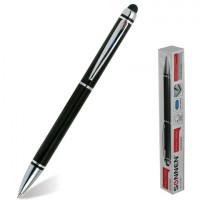 SONNEN 141589 Ручка-стилус SONNEN для смартфонов/планшетов, СИНЯЯ, корпус черный, серебристые детали, линия письма 1 мм, 141589